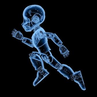 Robot mignon à rayons x de rendu 3d ou robot d'intelligence artificielle avec mouvement de personnage de dessin animé