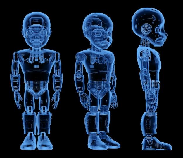 Robot mignon à rayons x de rendu 3d ou robot d'intelligence artificielle avec personnage de dessin animé pleine longueur