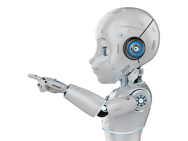 Robot mignon de rendu 3d ou robot d'intelligence artificielle avec le doigt de personnage de dessin animé
