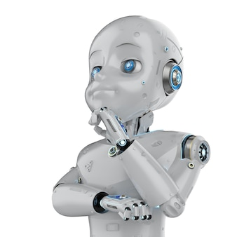 Robot mignon de rendu 3d ou robot d'intelligence artificielle avec la pensée ou l'analyse de personnage de dessin animé