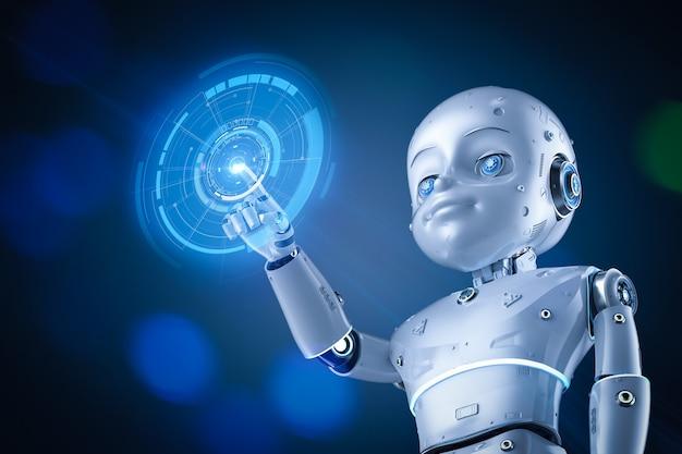Robot mignon de rendu 3d ou robot d'intelligence artificielle avec personnage de dessin animé avec affichage graphique