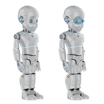 Robot mignon de rendu 3d ou robot d'intelligence artificielle avec personnage de dessin animé pleine longueur