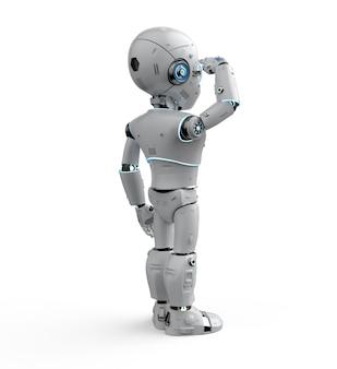 Un robot mignon de rendu 3d ou un robot d'intelligence artificielle avec un personnage de dessin animé regarde autour de lui