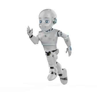 Robot mignon de rendu 3d ou robot d'intelligence artificielle avec personnage de dessin animé