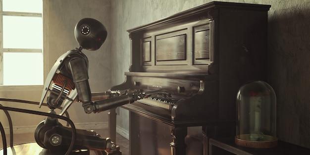 Robot nestor joue du piano dans un monde post-apocalyptique