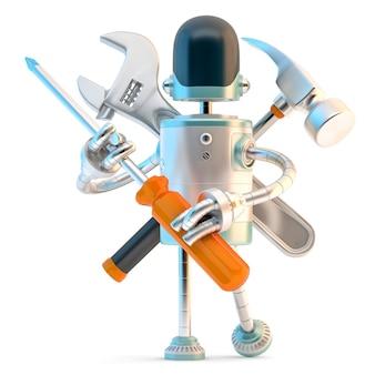Robot avec des outils de construction. illustration 3d contient un tracé de détourage