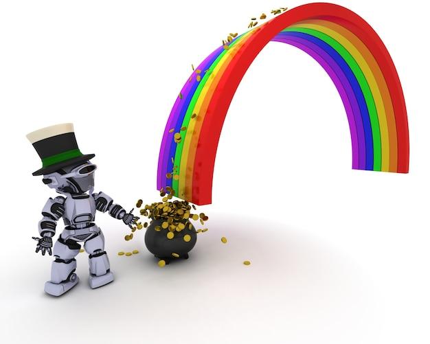 Robot de prendre l'argent de l'arc en ciel