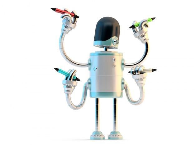 Robot à quatre bras avec crayons