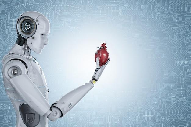Robot de rendu 3d hand holding coeur robotique rouge sur fond bleu