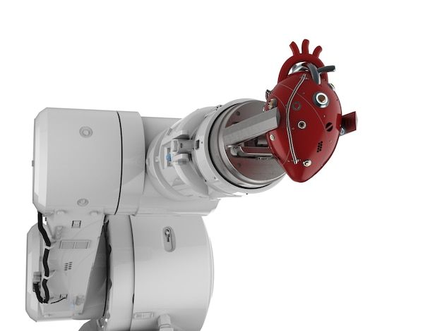 Robot de rendu 3d hand holding red coeur robotique isolated on white