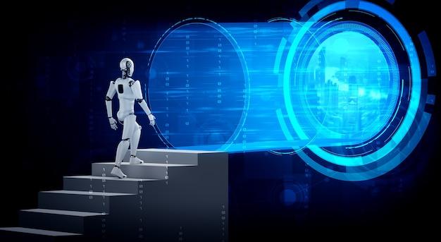 Robot de rendu 3d humanoïde à pied vers le succès