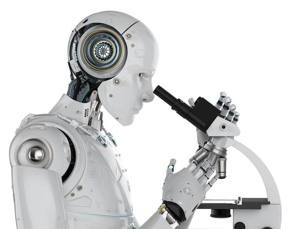 Robot de rendu 3d travaillant au microscope isolated on white
