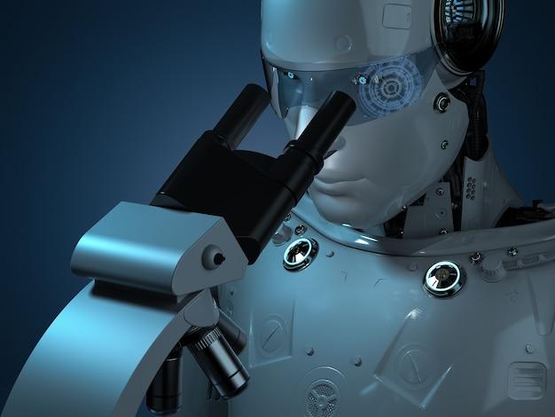 Robot de rendu 3d travaillant au microscope en laboratoire sombre