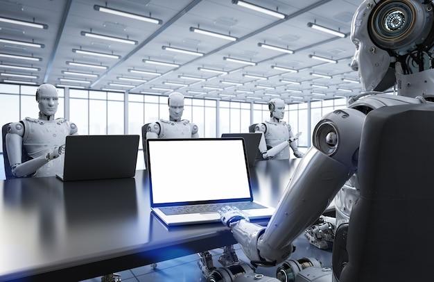 Robot de rendu 3d travaillant dans un bureau ou une salle de conférence