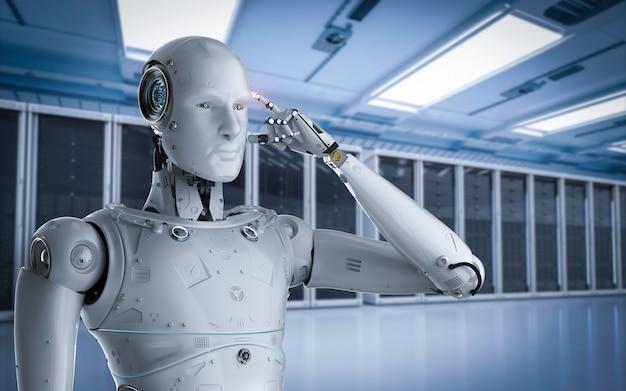 Robot de rendu 3d travaillant dans la salle des serveurs