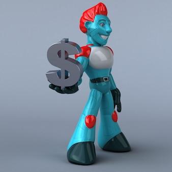 Robot rouge - illustration 3d