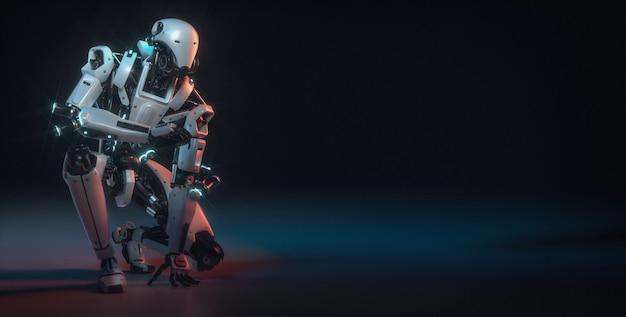 Robot sont dans la salle du studio. rendu et illustration 3d.