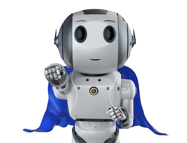 Robot de super-héros de rendu 3d avec cape bleue