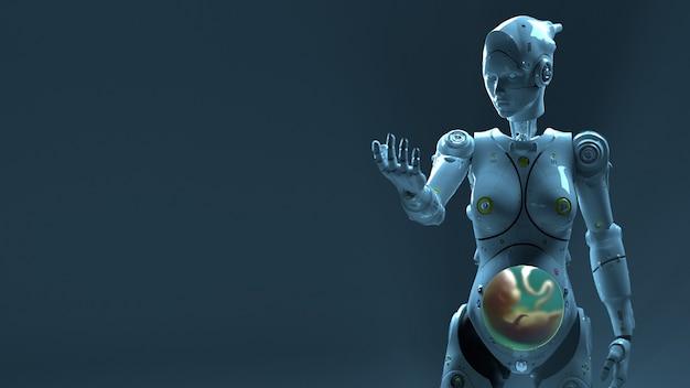 Robot de technologie sai fi robots 3d render