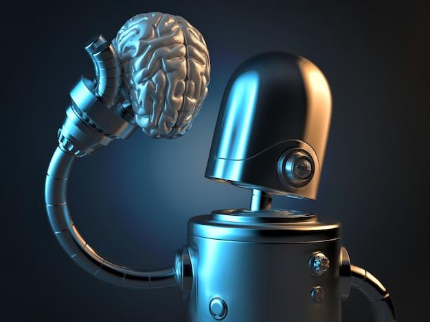 Robot tient un cerveau humain dans sa main.