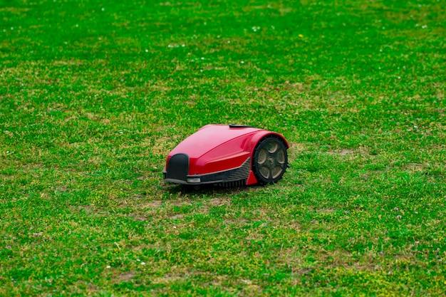 Robot tondeuse sur pré d'été dans le jardin avec espace de copie.