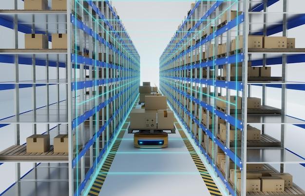 Robot de véhicule de guilde automatique (agv) transportant une boîte à colis au milieu de palettes à rack, rendu d'illustrations 3d