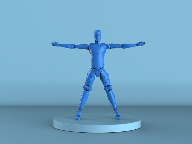 Robot vitruvien bleu rendu 3d ou cyborg sur fond bleu
