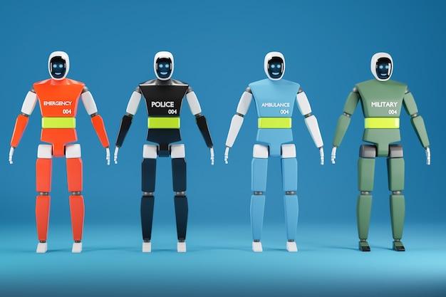 Robots de sauvetage et militaires. un robot grandeur nature avec un moniteur sur son visage sur un fond bleu. illustration 3d.