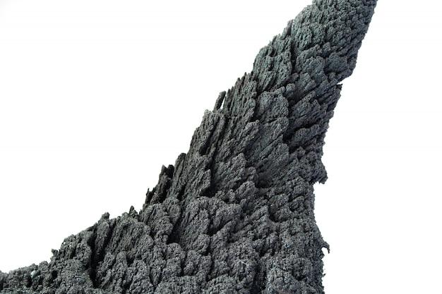 Roche volcanique conique isoler sur blanc