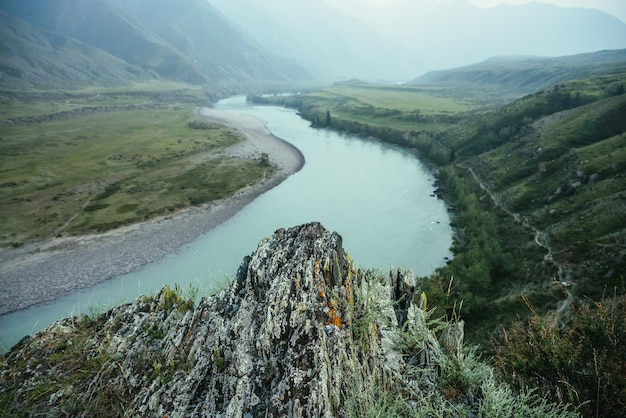 Rocher d'herbes et de lichens avec vue sur la grande rivière de montagne dans la brume. beau paysage de montagne avec gros rocher avec flore sur fond de grande rivière de montagne par temps de pluie. paysages atmosphériques.