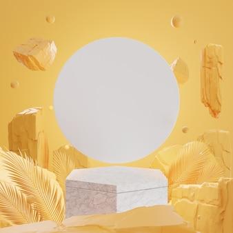Roches et pierres 3d sur podium en marbre sur mur jaune