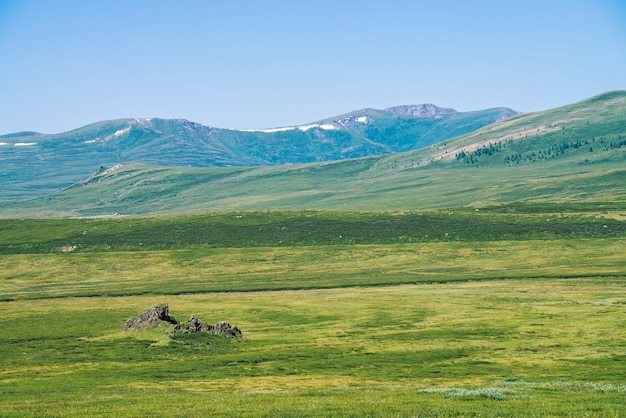 Rock dans la vallée verte contre les montagnes géantes de neige sous un ciel bleu clair.