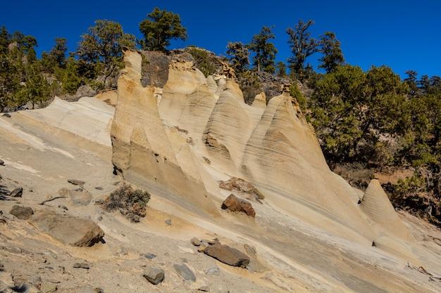 Rock paisaje lunar célèbre paysage lunaire sur l'île des canaries tenerife, espagne