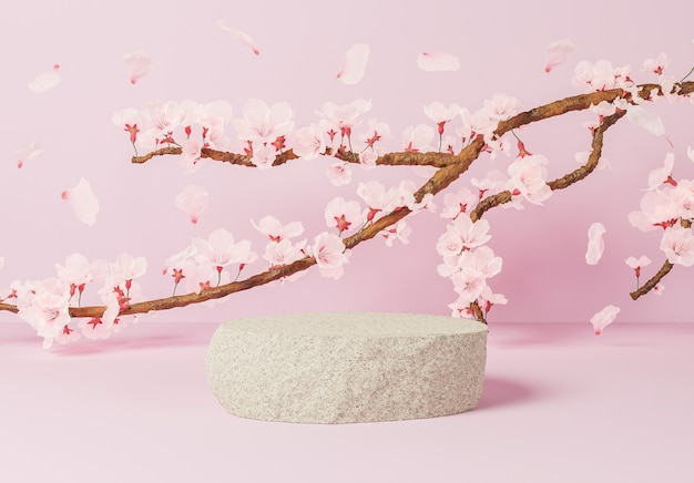 Rock pour la présentation du produit avec une surface rose et une branche pleine de fleurs de cerisier