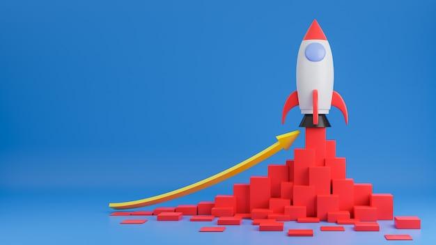 Rocket ship vole avec le graphique graphique des finances sur bleu