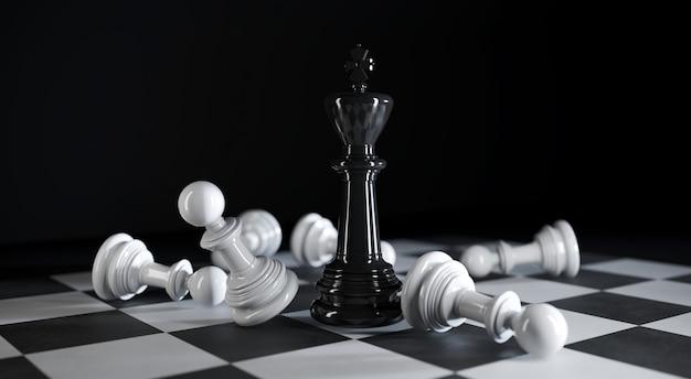 Le roi des échecs se trouve parmi diverses pièces d'échecs blanches en illustration 3d