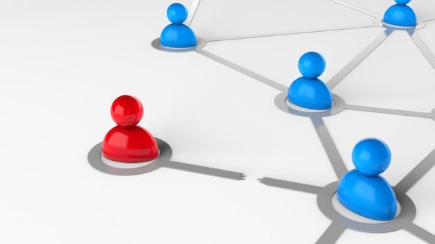 Rompre le lien entre les gens. rupture des relations, licenciement dans l'entreprise. rendu 3d.