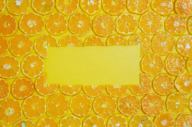Rond orange tranches fruits espace copie