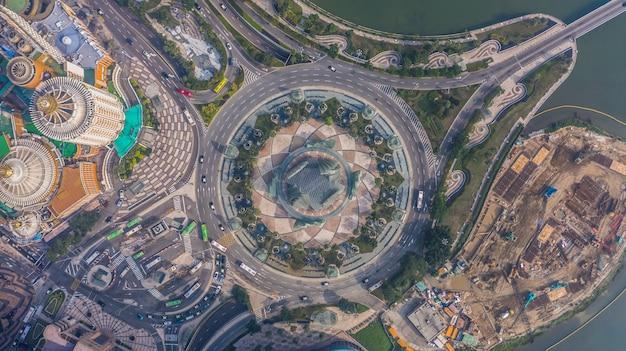 Rond-point à macao, vue aérienne du rond-point à macao