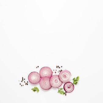 Rondelles d'oignon avec espace de copie