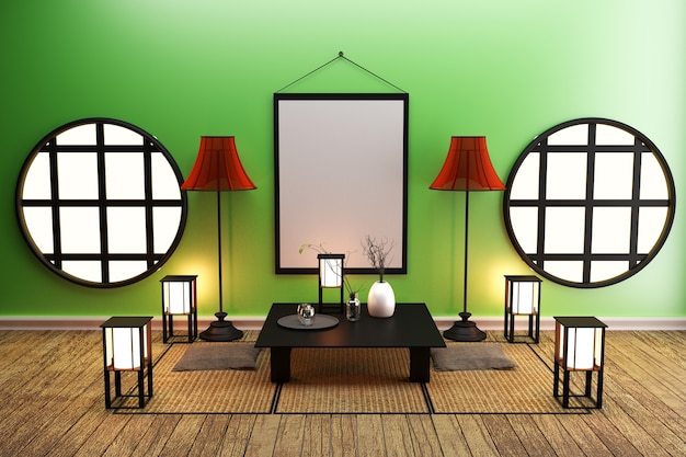 Room design de style japonais. rendu 3d