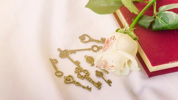 Rose blanche peinte sur livre avec petites clefs