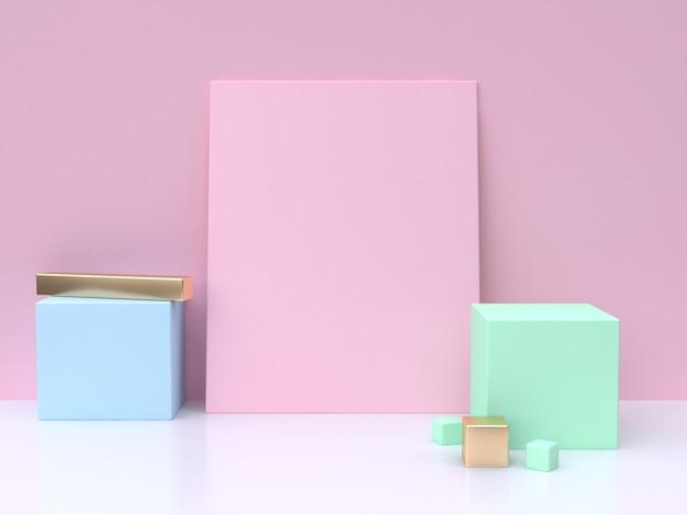 Rose carré blanc bleu cube vert minimal abstrait fond rendu 3d
