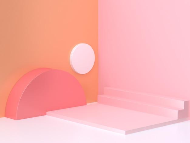 Rose orange mur coin abstrait géométrique scène rendu 3d