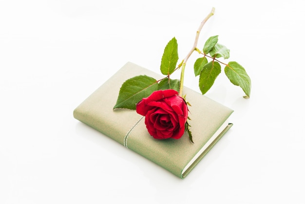 Rose rouge avec cahier vierge