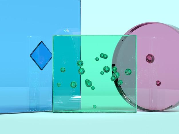 Rose vert bleu verre transparence matériau forme géométrique minimal abstrait 3d rendu