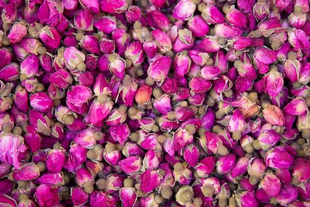 Rosebuds séchées fond texture agrandi.
