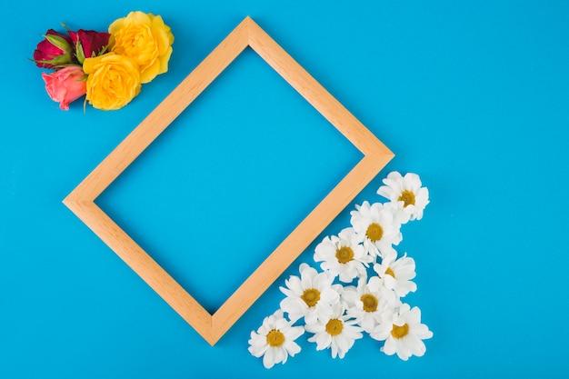 Roses et camomille près du cadre