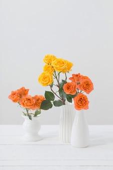 Roses dans un vase blanc sur fond blanc