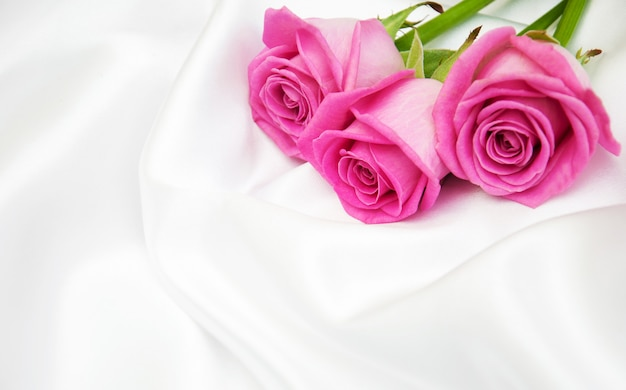 Roses sur fond de soie blanche